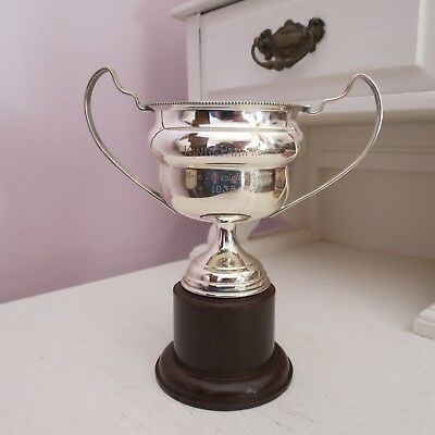 Art Deco silver plated trophy cup tennis 1938 bakelite base