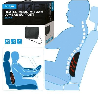 Simply Heated Memory Foam Lumbar Back Support Cushion Car Seat Lower Back Ache