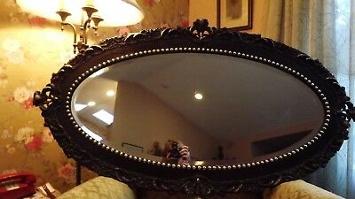 "ANTIQUE OVAL BEVELED GLASS MIRROR W/FANCY CARVED WOFRAME GILT  1800's 50"" X 28"""