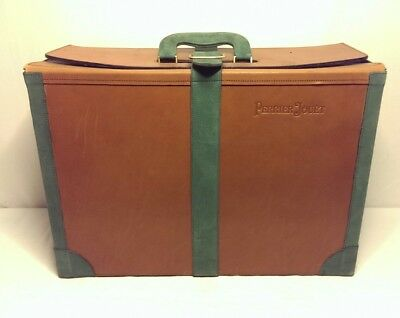 """Rare Large 20"""" x 14"""" Leather Suede Perrier Jouet Empty Champagne Wine Case Box"""