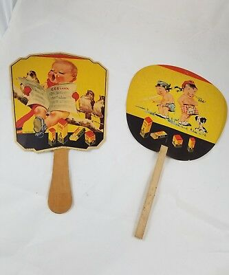 Vintage Hand Fans 666 Advertising from 1940-50s - Set of 2 666 Carol puppy fans