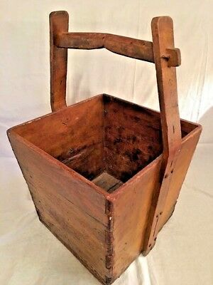 Chinese Wood Rice Grain Bucket Basket Large Handle Antique Primitive