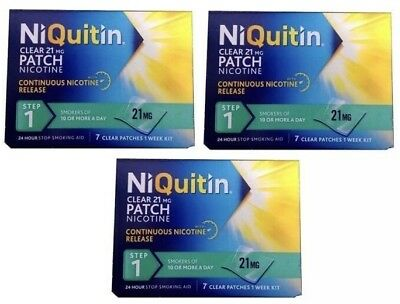 NiQuitin 21mg Clear 24 Hour 7 Patches Step 1 Pack of 3