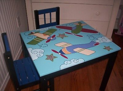 Boy's hand painted table and chair set Melissa Doug Kids Vintage Airplane Plane