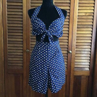 FINAL PRICE Vintage Inspired 1960s Two Piece Pinup Playsuit Romper Rockabilly