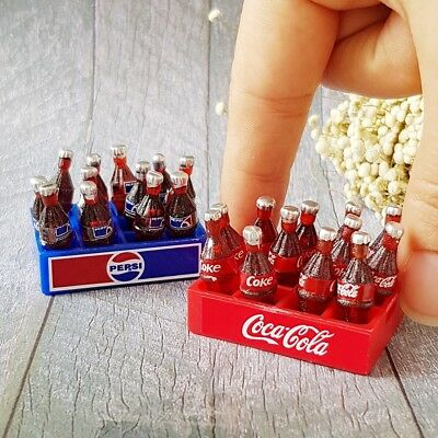 24x Coca-Cola Pepsi Bottle Tray Dollhouse Miniature Soda Drink Beverage Tiny BJD