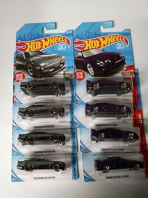 2018 Hot Wheels 82 NISSAN SKYLINE R30 & GT-R R33  H Case JDM Very HTF 8 Car Lot