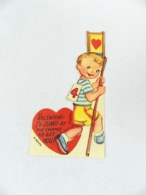 """Vintage Valentine's Day Card """"Valentine I'd Jump at the chance"""" Boy Pole 1940s"""