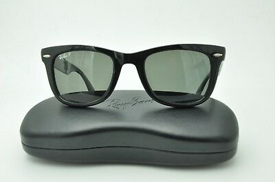 41548b4504f Ray Ban RB 4105 Folding WAYFARER Sunglasses 601 58 Black   Green Polarized  50mm