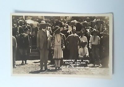 USA PRESIDENT and Mrs COOLIDGE at the Tri State Round Up origional Postcard