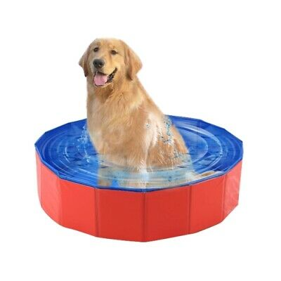 Pet Dog Pool Foldable Swimming Bed Blue  Summer Red Bath Indoor Outdoor Portable