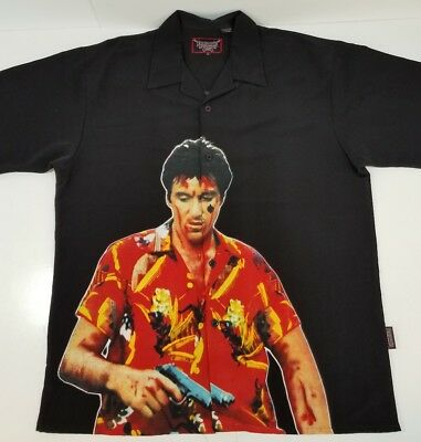 SCARFACE Dragonfly Al Pacino Tony Montana Black Button Front Casual Shirt XL 8022728753