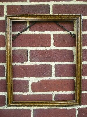 Antique Art Crafts Bronze Gold Finish Patterned Wood Picture Frame 11 x 13 3/4