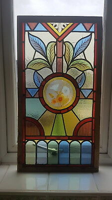 Antique Victorian Framed Stained Glass , Hand Painted Flowers / Stunning Colours