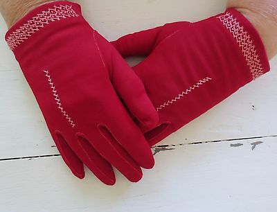 Cute red vintage dress gloves with pink embroidered cross-stitching