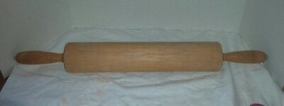 """Vtg Thorpe Rolling Pin Co Cheshire, Conn Wooden Rolling Pin 15"""" 25"""" Overall Long"""