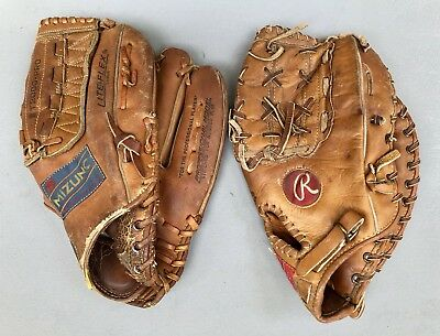 Lot Of 2 Vintage Baseball Gloves RHT Mizuno Ollo MT2000 & Rawlings Montanez XFB6