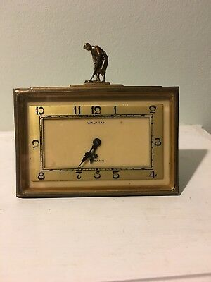 1927 Waltham Desk Clock-Golfer Motif  8 day Movement