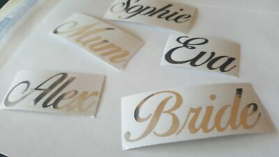 Premium Personalised Wedding Name Stickers - FOIL SILVER, Vinyl Hen Glass Decal
