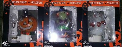 Veilluse Halloween Night Lights Pumpkin Witch Ghost 3 Pack  Nib