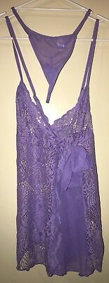 Shirley Of Hollywood Lingerie Camisole Nighty Purple Lilac Bow Lace Size L