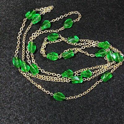 Vintage Green Lucite or Plastic Bead Faux Emerald Goldtone Necklace Kryptonite