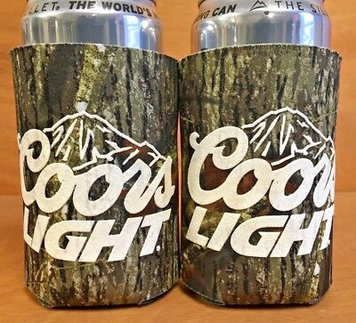 Coors Light Real Tree Camo Beer Can / Bottle Koozie Cooler ~ Two (2) ~ New & F/S