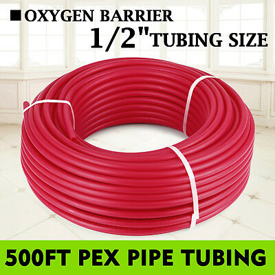 """1/2"""" x 500ft PEX Tubing/Pipe O2 Oxygen Barrier EVOH Water Tube Industrial Red"""