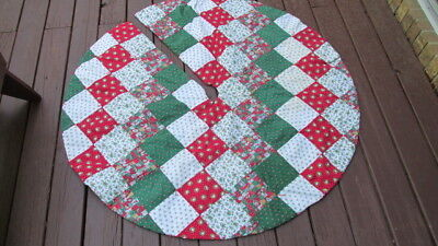 "Vtg Hand made Quilted Christmas tree Skirt Print Fabrics Tied 54"" Country"