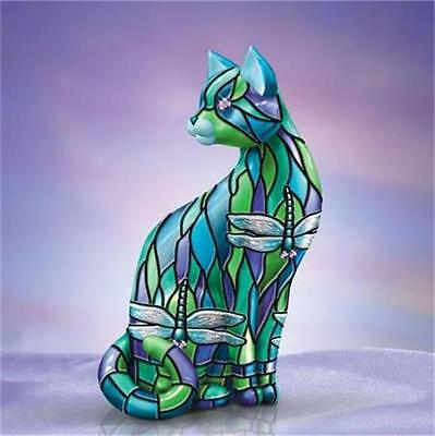 DRAGONFLY Louis Comfort TIFFANY-Style Cat Figurine NEW