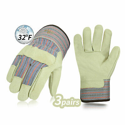 Vgo 3Pairs Heavy Duty Grain Leather Work Gloves Safety Cuff and Liner(PA3501F)