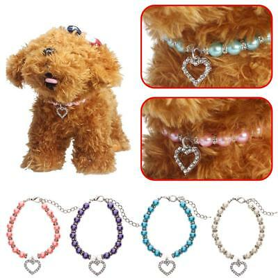 Trendy Crystal Necklace Dog Pendant Pearl Cat Identity Collar Pet Jewelry SS US