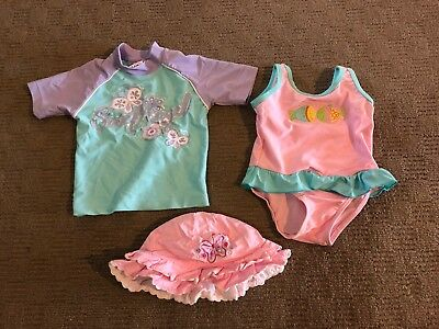 Baby Girls Size 0 Swimsuit And Rashy