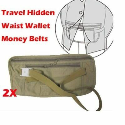 2X TRAVEL SECURITY POUCH BELT WAIST BAG hidden Wallet MONEY PASSPORT CARD TICKET