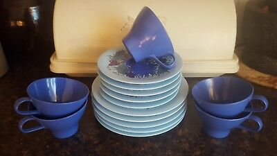 5 Melmac Bessemer Ware Cups and Saucers Trios Blues Turquoise  Floral