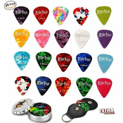 Fashionable All in One Guitar Picks 20Pack Celluloid and Felt Picks Bass Ukulele