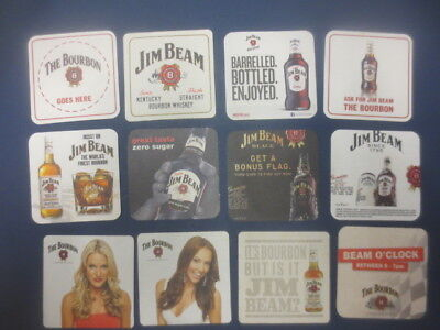 12 different  JIM BEAM Bourbon  Spirits collectable COASTERS