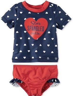 Carter's Baby Girls' Fourth of July Rashguard Set, 6 Months NWT