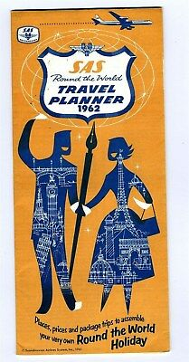 SAS Round the World Travel Planner 1962 Brochure Scandinavian Airlines System
