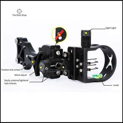 RBK 4 Pin Miro adjust Compound bow sight with  .019 pins for hunting and archery