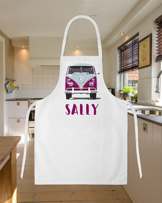 Personalised Hot Pink Camper Van Baking Cooking Apron Ideal Birthday Gift VW