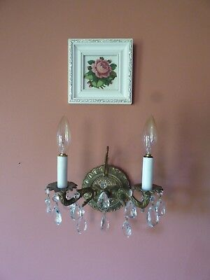 antique metal single wall light sconce crystal prisms candle light