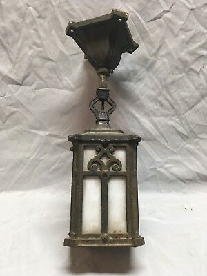 Antique Cast Iron Arts Crafts porch Ceiling Light Fixture Milk Glass Old 334-18E