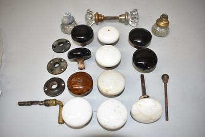 Antique Misc. Lot Crystal, Porcelain, Pottery Door Knobs, Brass Handle