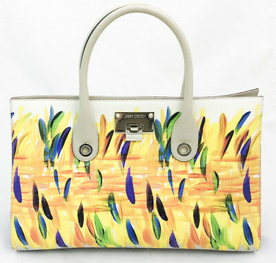d0f567f63bc6 JIMMY CHOO RILEY New Feather Vachetta Leather Large Satchel Tote Bag ...