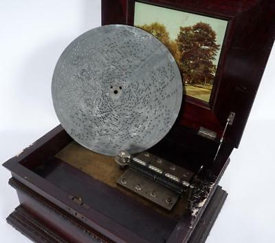 Antique The Olympia No. 3 Double Comb Mahogany Disc Player Music Box