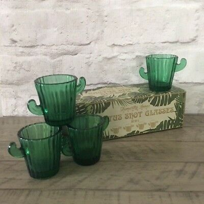 Set of 4 Cactus Shot Glasses Gift Boxed Botanical Quirky Party Tequila Green