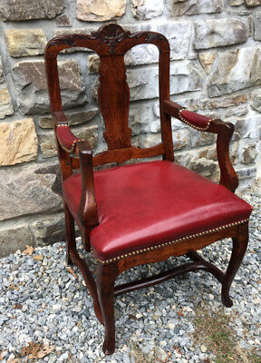 Antique English gentleman's walnut desk arm chair leather seat dish carved shell