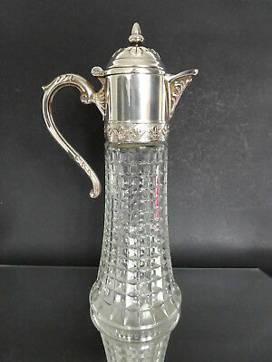 "Vintage Italian Silver Plated Crystal Glass Claret 12""/30cm Jug Decanter"