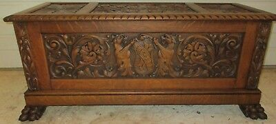 Beautiful American Quatersawn Oak Highly Carved  Blanket Chest With Lions!